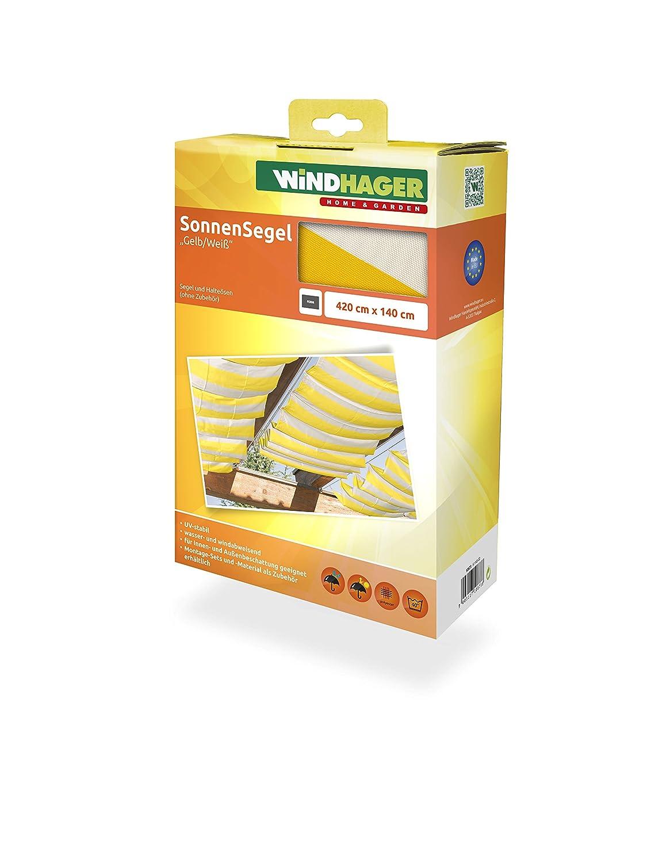 Windhager Toldo Vela de protección Solar tecnología de tensado de Cables 420 x 140 cm, Ideal para pérgola o Invernadero, Amarillo/Blanco, 10873