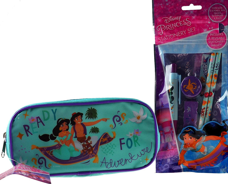 BWG Disney Princess Jasmine/Aladdin - Estuche para lápices y Juego de papelería Escolar de 5 Piezas: Amazon.es: Hogar