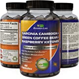 Pure Garcinia Cambogia with Detox and Cleanse Supplements – Weight Loss and Energy Pills for Women and Men with Raspberry Ketones + Green Coffee Bean Extract + Antioxidant Green Tea Fat Burner