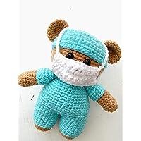 Osito Médico Amigurumi, Muñeco Oso Doctor Tejido A Mano Hero Bear