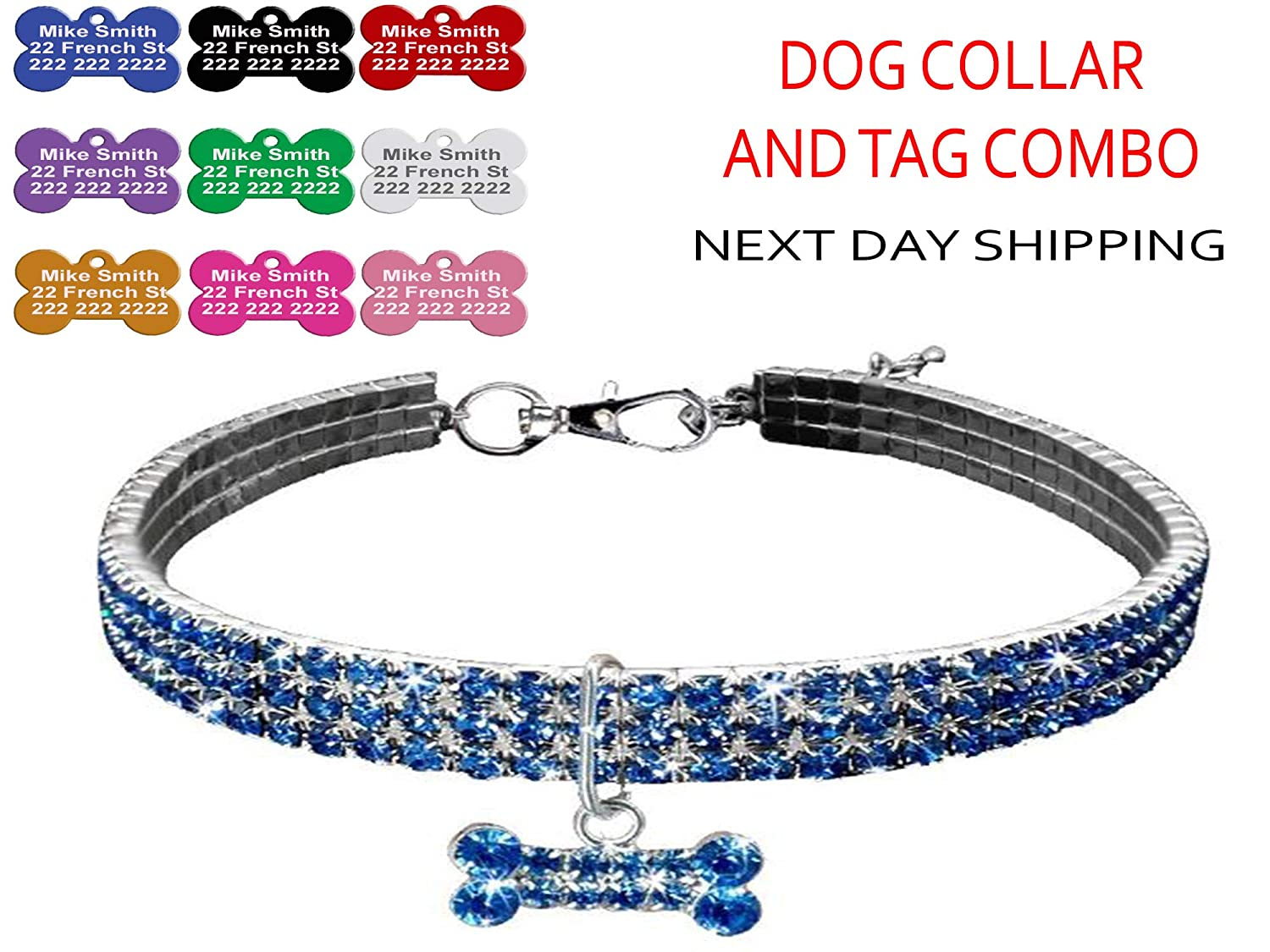 35 50 Custom Engraved Bling Dog collar and ID pet name Tag