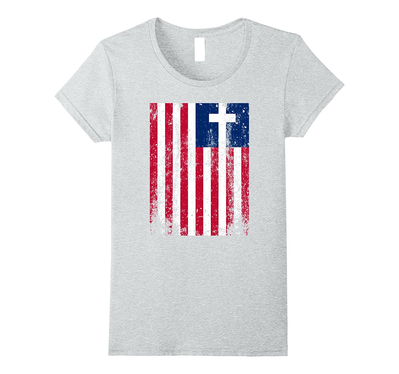 AMERICAN FLAG CROSS PATRIOTIC USA CHRISTIAN GOD T-SHIRT
