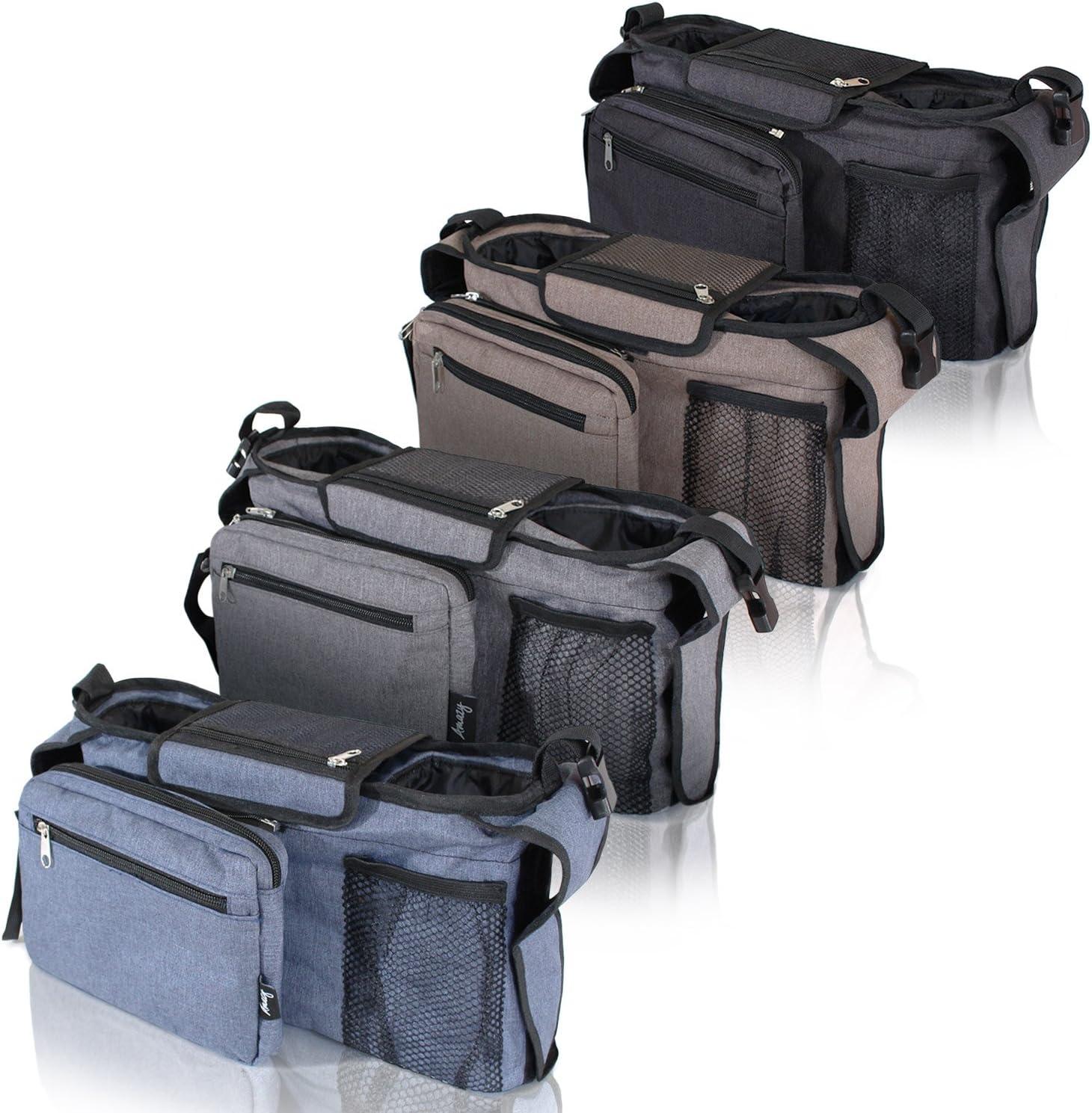 Amazy Sac b/éb/é Organisateur b/éb/é multifonction pour poussette avec espace de rangement et deux pochettes isolantes Beige