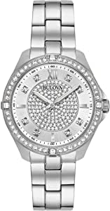 Bulova Crystal Quartz Ladies Watch, Stainless Steel , Silver-Tone (Model: 96L236)