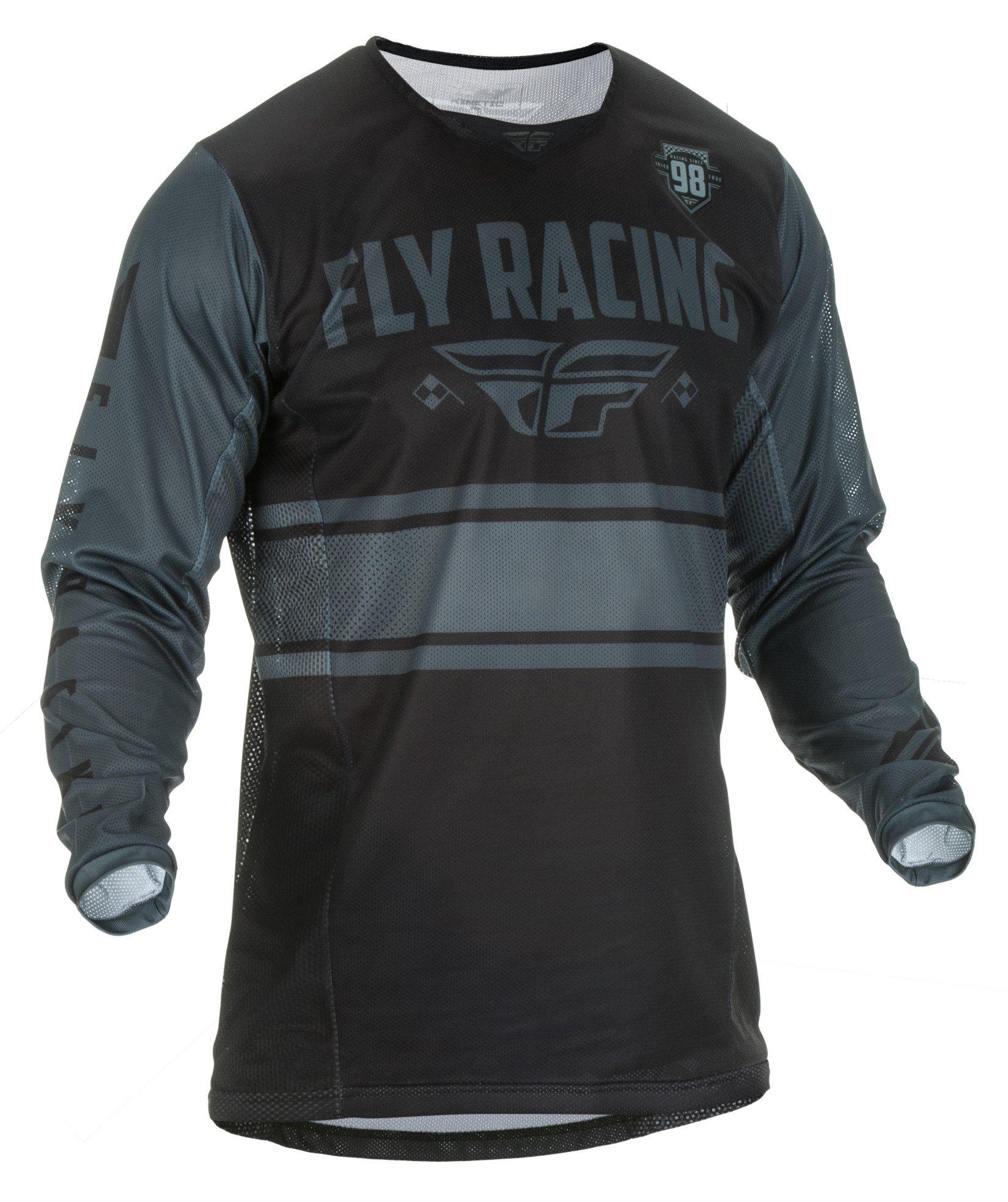Fly Racing Men's Kinetic Mesh Era Jersey(Black/Grey, Large),1 Pack