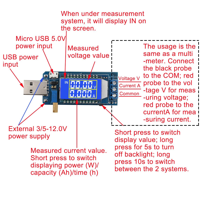 Droking DC-DC 5V a 3.3V 9V 12V 24V Convertidor Buck Boost ajustable Voltaje de la bater/ía Probador de corriente Medidor LCD M/ódulo de fuente de alimentaci/ón Step Up Down M/ódulo de alimentaci/ón USB