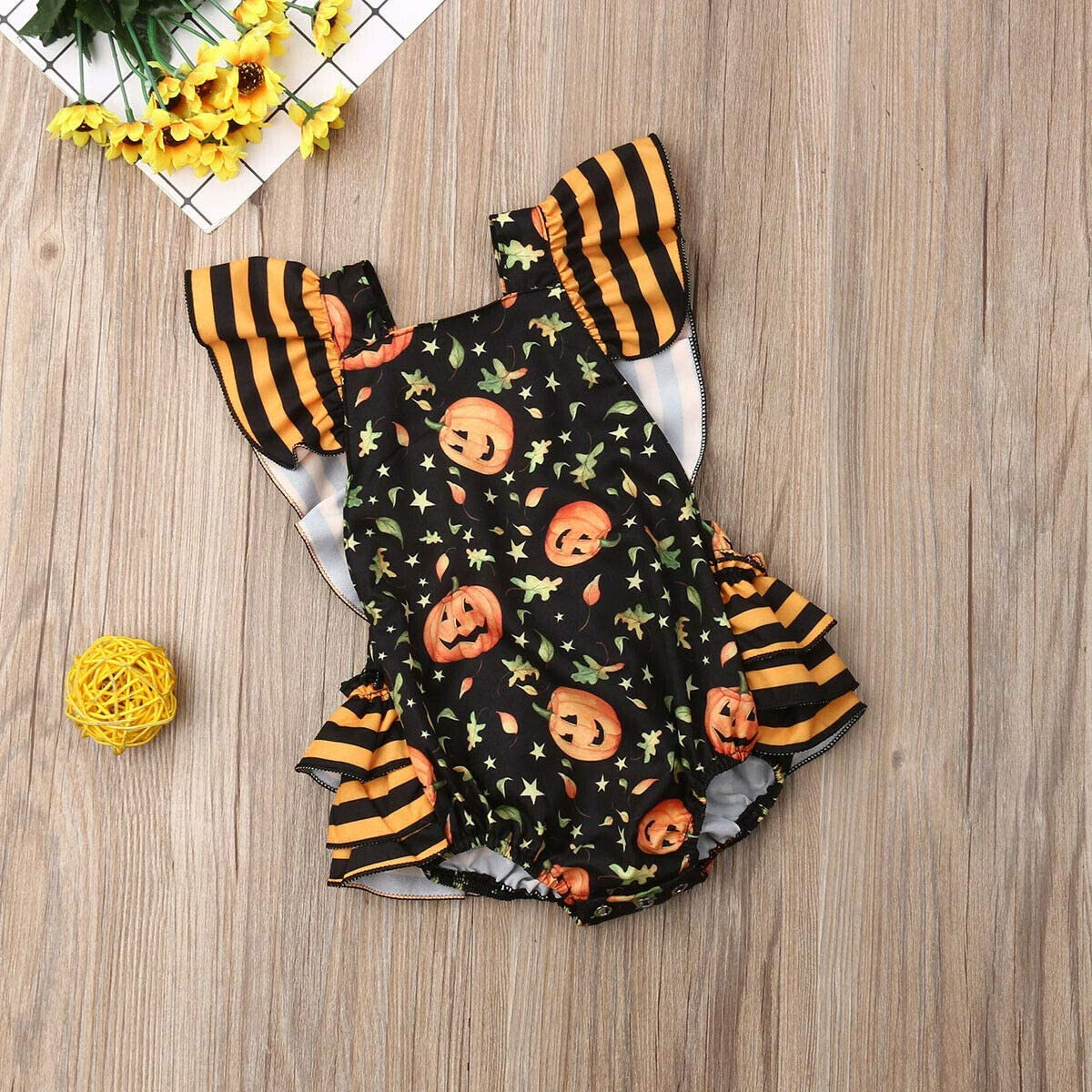 Granny/&Gramps Love Baby Girls Halloween Costume Infants Pumpkin Ruffle Romper Tutu Jumpsuit Outfits