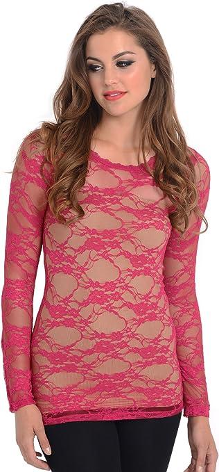 Fuchsia Sheer Mesh Stretch Lace Long Sleeve Top S//M//L
