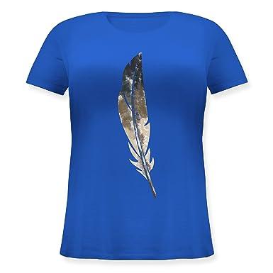 Statement Shirts - Wasserfarben Feder - S (44) - Blau - JHK601 - Lockeres