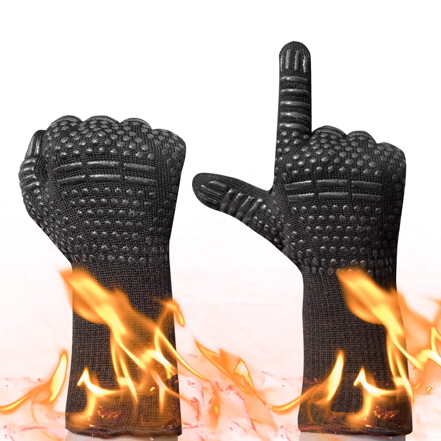 BBQ Grilling Gloves,932°F Heat Resistant Oven Mitts Comfortable Wearing Gloves, Barbecue Gloves for Men Women, 13.8(inch) Long for Extra Forearm Protection, 1 Pair (Black) | Runwinker
