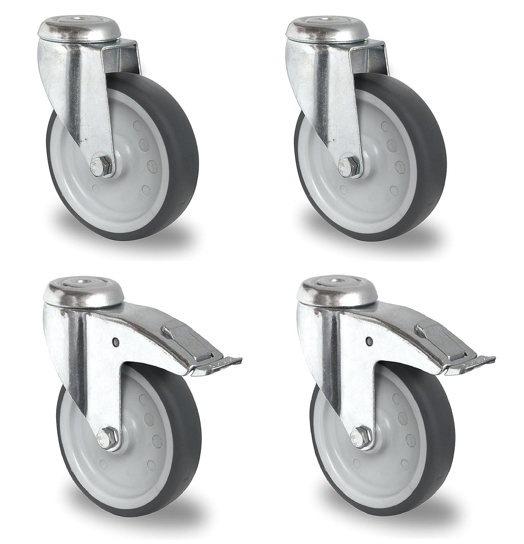 Satz Apparaterolle Lenkrolle mit ohne Bremse 125 mm ohne Feststeller Gummi grau-spurlos Rü ckenloch Mö belrolle Transportrolle DELEX-Rollen