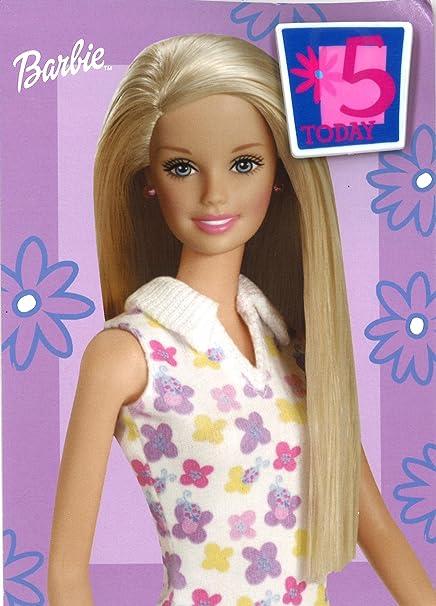 Tarjeta de cumpleaños con insignia y sobre de Barbie 5 Today ...