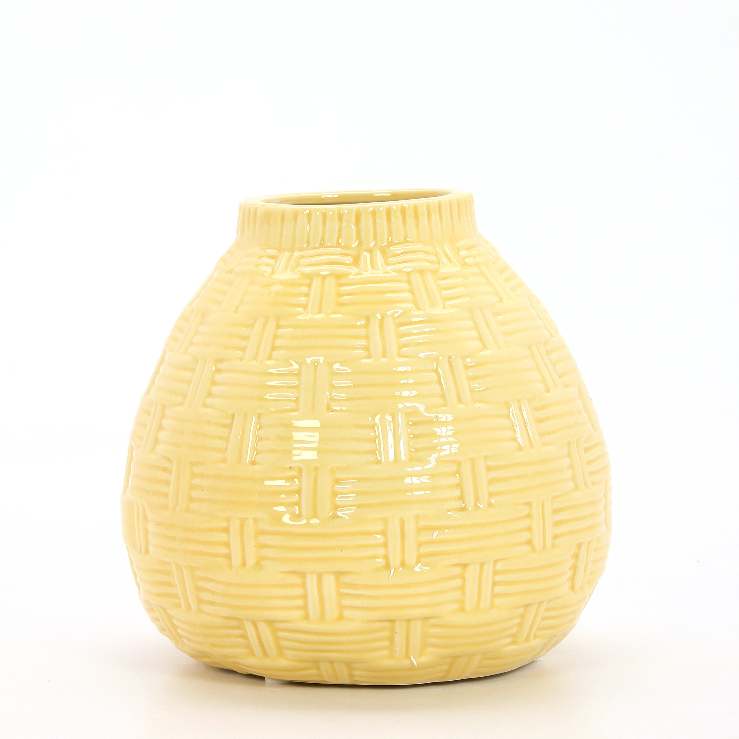 Hosley 6.5'' High Yellow Ceramic Table Top or Floor Vase. Ideal Gift for Wedding, Bridal, or Party O6