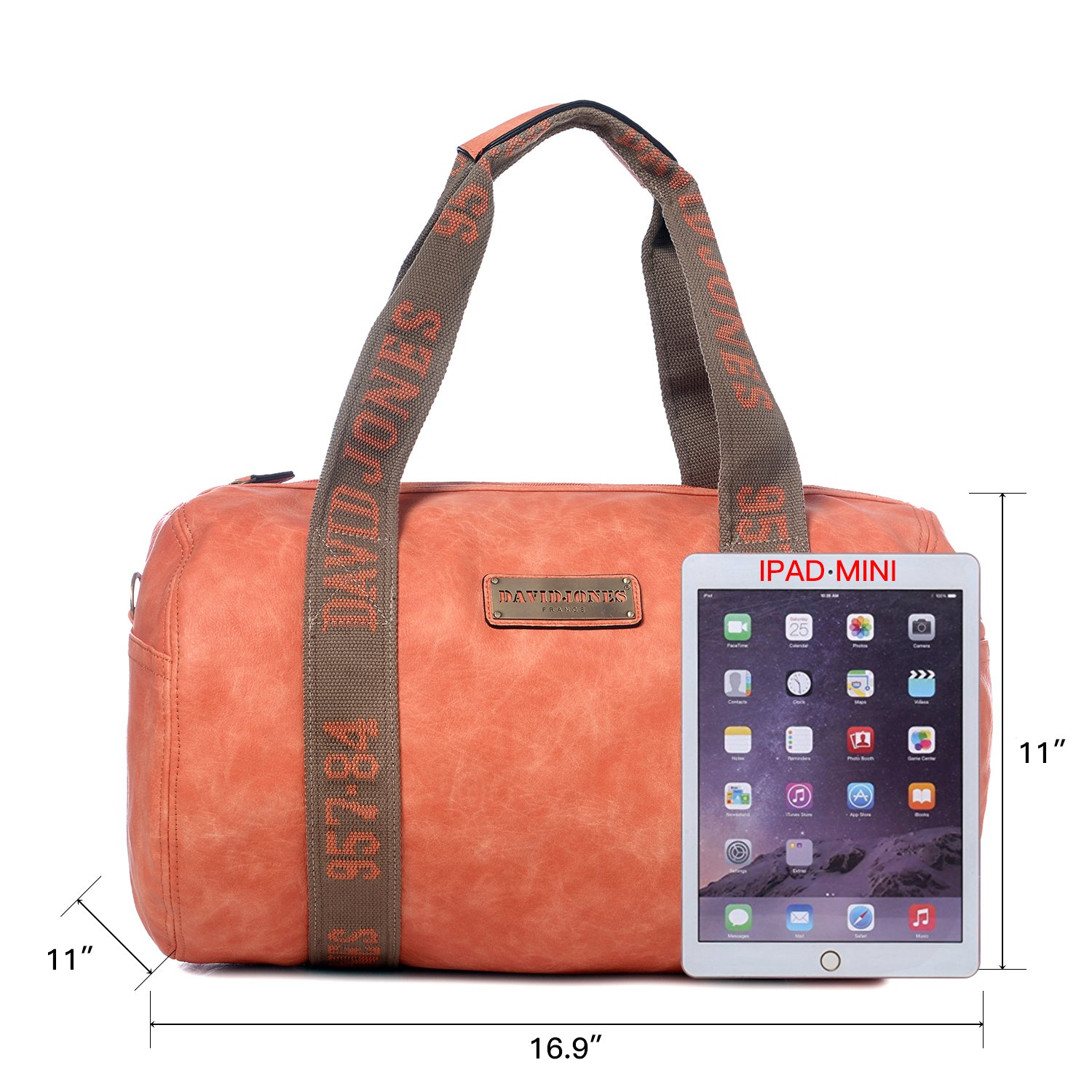 cddbe02d5e Duffle Travel Bags for Woman Weekender Tote Faux Leather Carry on Gym Bags  for Man Unisex DAVID JONES - ORANGE  Amazon.in  Bags
