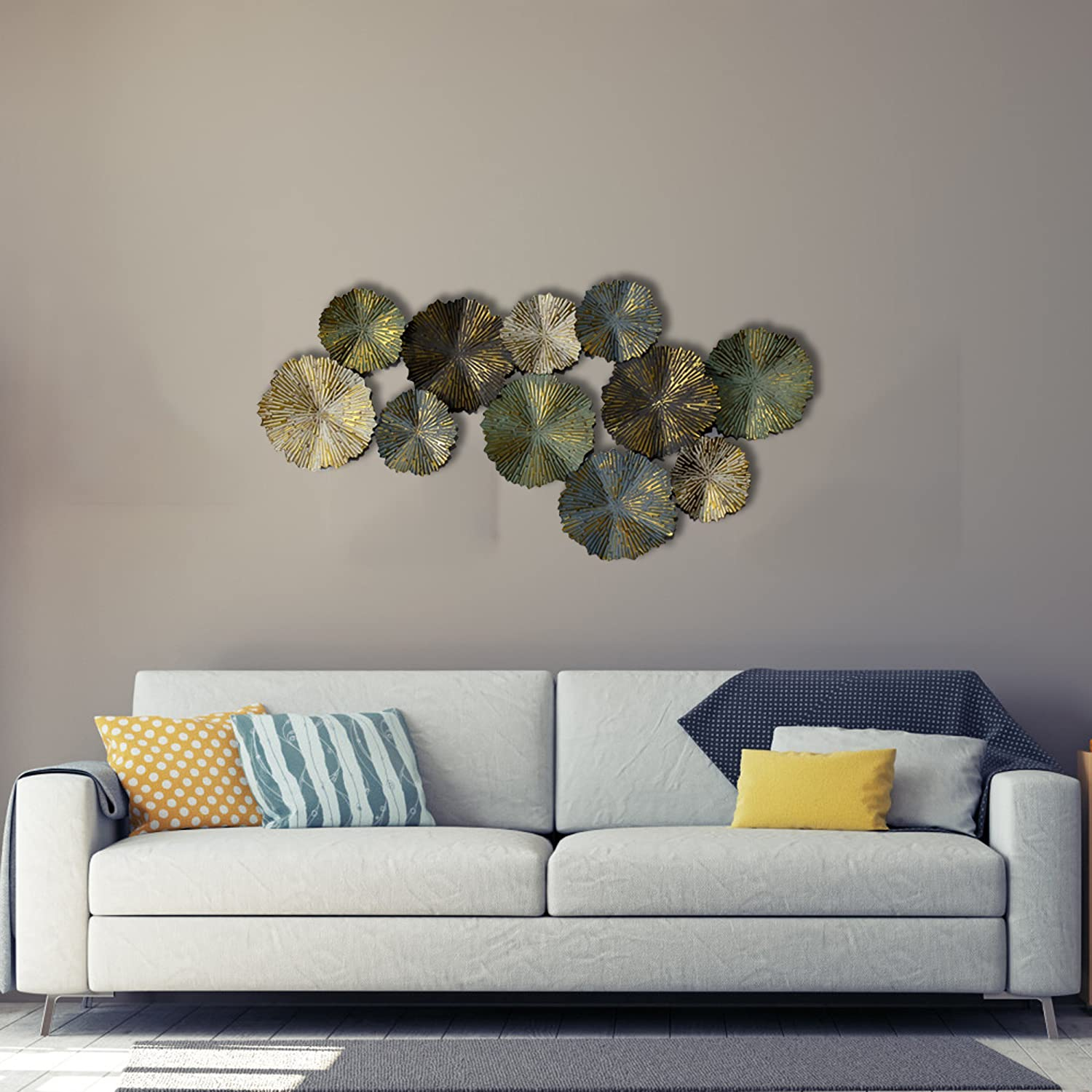 ac6e9c9201 Inhouse Matt Finish Sun Burst Circles Extra Large Metal Wall Art Sculpture  Wall Decor and Hanging: Amazon.co.uk: Kitchen & Home