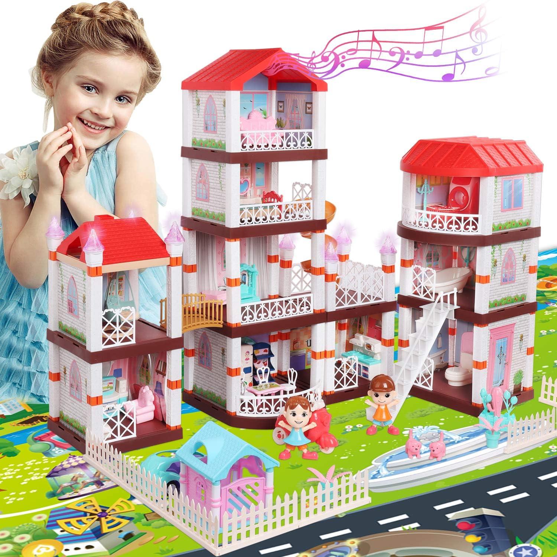 HONYAT Dreamhouse Dollhouse, Dreamy Princess Dollhouse with Furniture & 39
