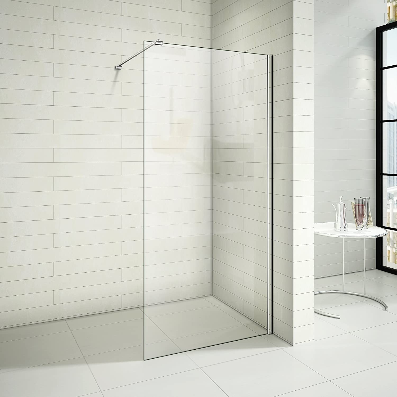Mampara de ducha vidrio antical Walk In, mampara de fijación con ...