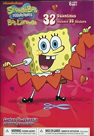 Amazoncom Spongebob Squarepants Valentine Cards 32 Pack Plus