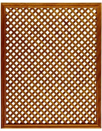 Celosía De Madera Tratada para Decoración De Terrazas, Jardines y Exteriores - Teca (114x92
