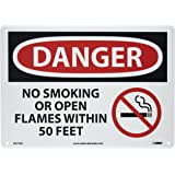 "NMC D673AB OSHA Sign, Legend ""DANGER - NO SMOKING OR OPEN FLAMES WITHIN 50 FEET"" with Graphic, 14"" Length x 10"" Height, Aluminum, Black/Red on White"