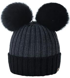 79960376a7ceaf MFAZ Morefaz Ltd Women Ladies Winter Beanie Hat Knitted Chunky Double Faux  Fur Pom Pom
