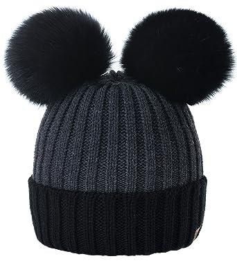 Women Ladies Winter Beanie Hat Knitted Chunky Beanie Hat with Double Faux  Fur Pom Pom MFAZ b9305dd9b52