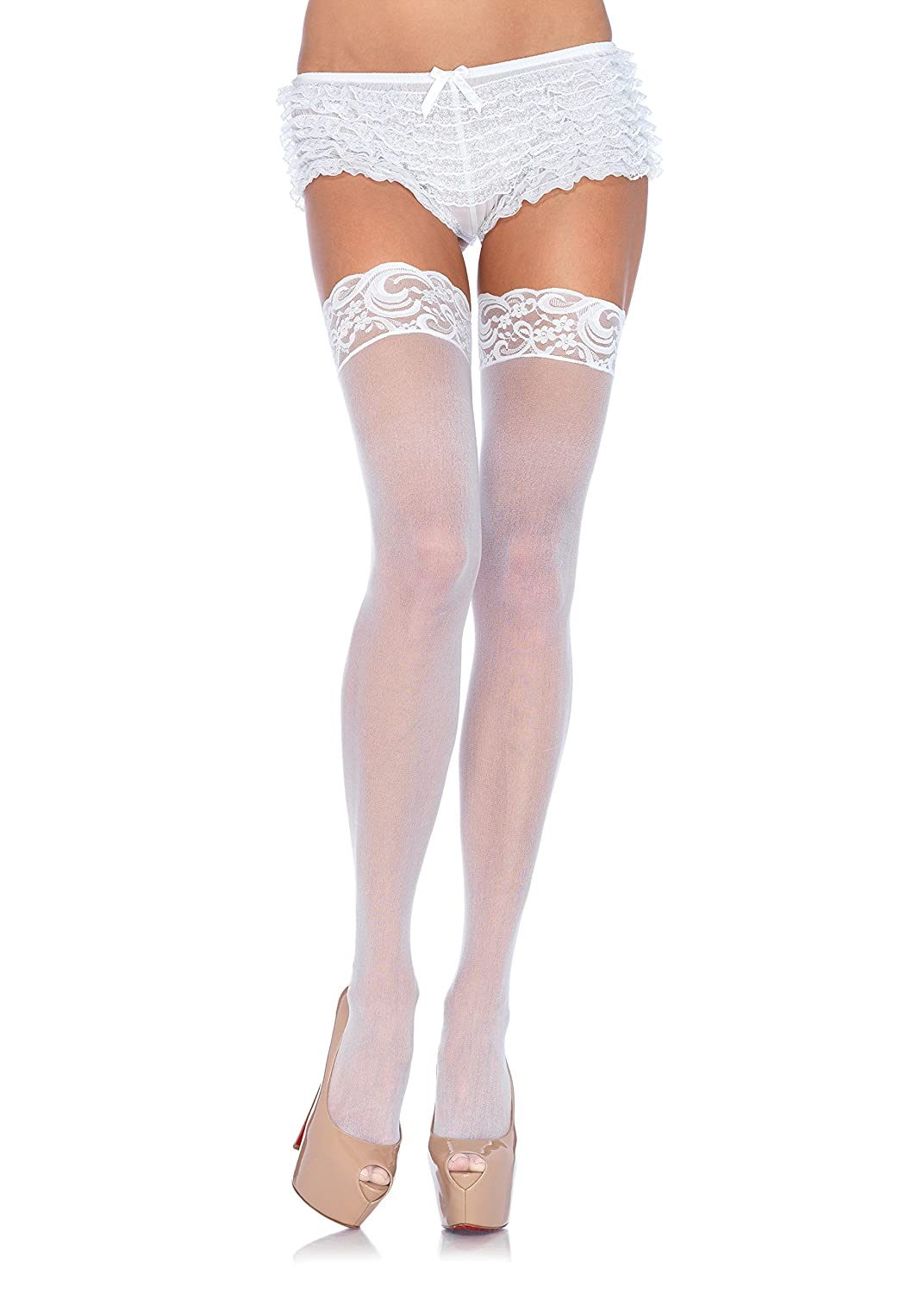 Leg Avenue Women's Queen Sheer Thigh Highs with Lace Top #1011Q LA-1011Q-0001
