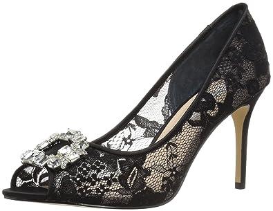 Nina Womens Rhodes Lace Peep Toe Classic Pumps Black Size 6.5