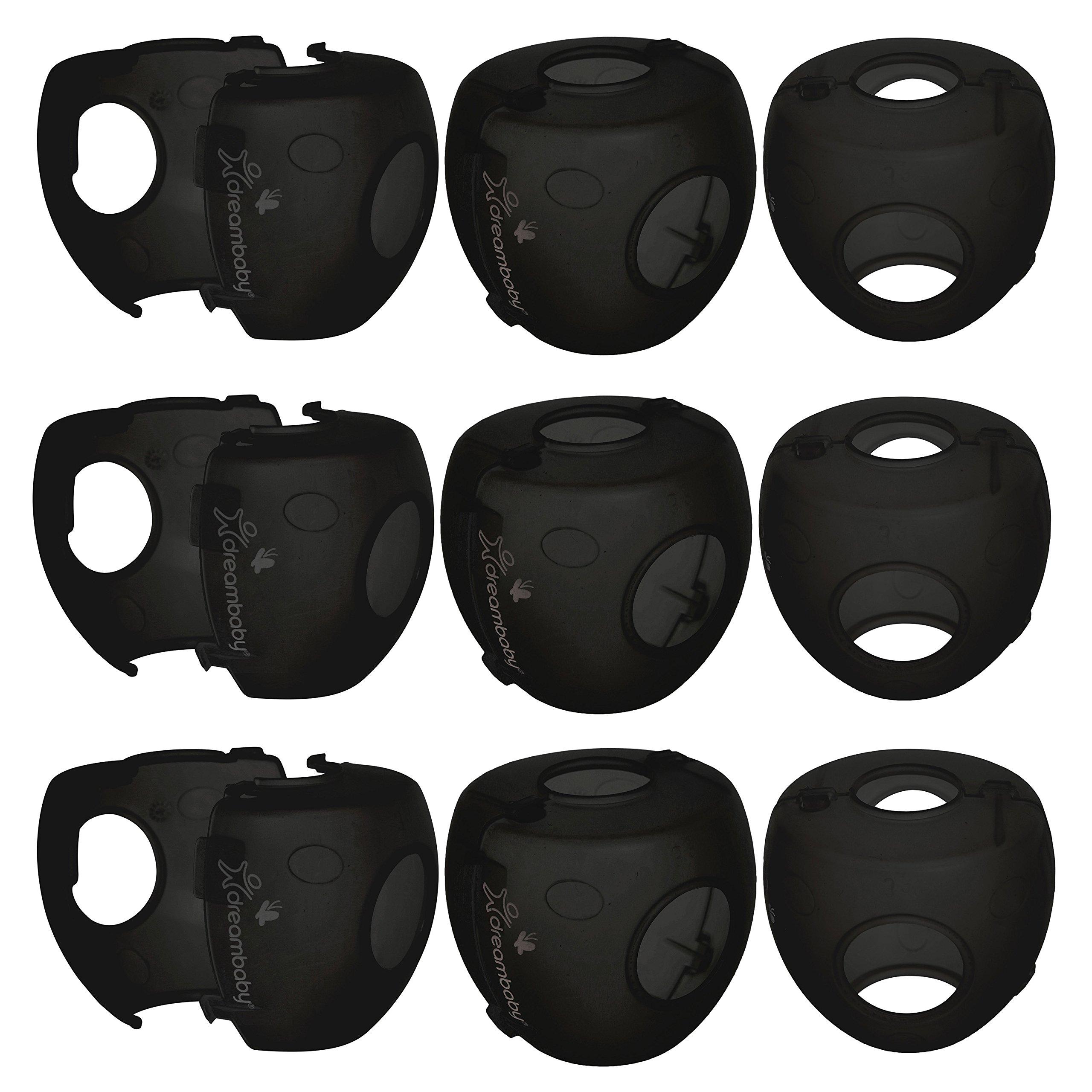 Dreambaby EZY-Fit Door Knob Covers (Smoke Black, 9 Pack)