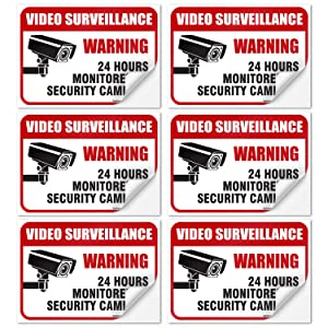 "(6 Pack) 24 Hour Video Surveillance Sign, 2½x3½"" 4 Mil Sleek Vinyl Decal Stickers Weather Resistant Long Lasting UV Protected and Waterproof Made in USA by SIGO SIGNS"