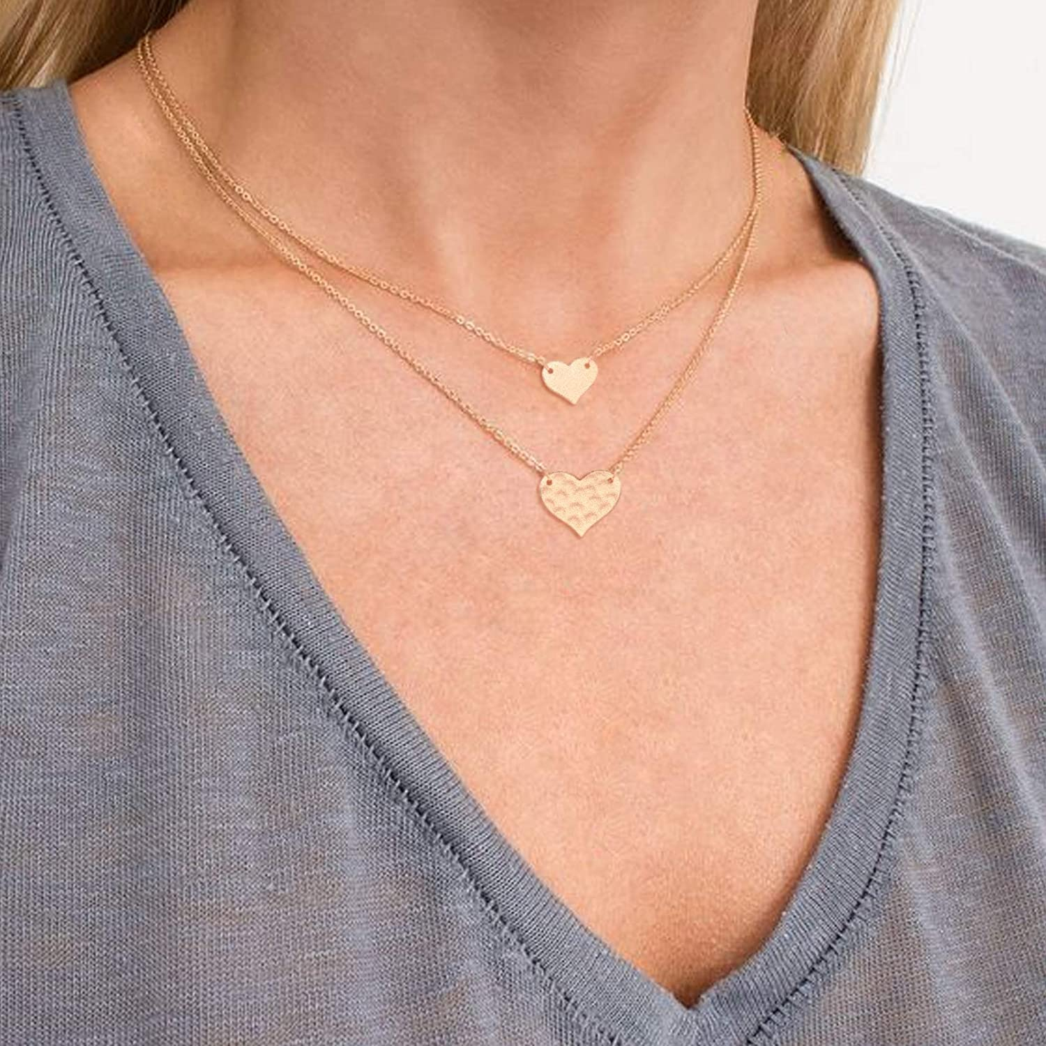 14K Gold Plated Dainty Crescent Moon and Star Heart Butterfly Retro Handmade Collar Necklace for Girls Christmas Jewelry Gift Gold Layered Choker Necklaces for Women