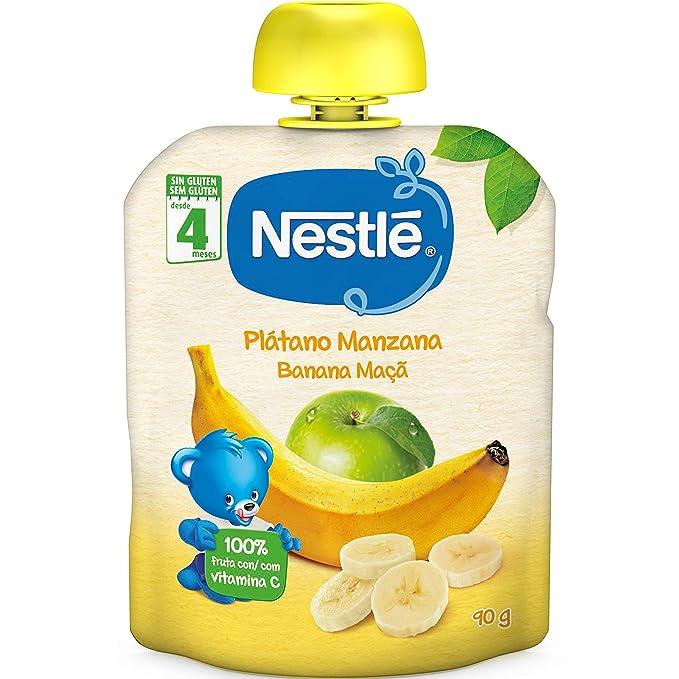 NESTLÉ Bolsita de puré de frutas, variedad Plátano y Manzana, para bebés a partir