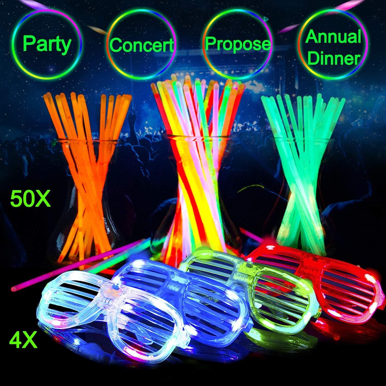 50x Glow in the Dark Glasses Glow Stick Bright Neon Glasses Parties Festivals