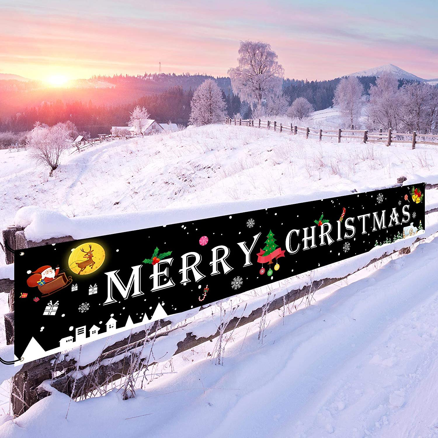 Merry Christmas Banner, Black Large Signs Outdoor Christmas Decorations for Yard Wall Party Home Decor Xmas Ornaments