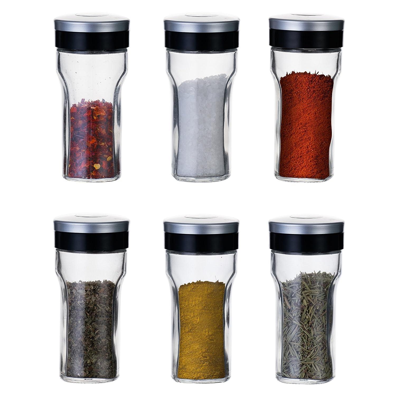 Kitchenget–portaspezie Storage set–6Glass shaker pots–ogni barattolo da 80ml. VilHome