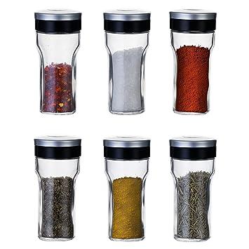 KitchenGet - Juego de 6 recipientes de cristal para especias (cada botella de tarro de