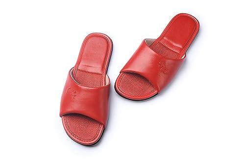 Zapatillas de estar por casa,KENROLL Zapatillas de cuero para Hombre para Mujer interior piso de dormitorio Antideslizante Slippers (5.5-6 UK/37-38 EU, Escarlata)