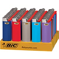 BIC Classic Lighter, Assorted Colors, 50-Count Tray, Up to 2x the Lights (Assortment of Colors May Vary)