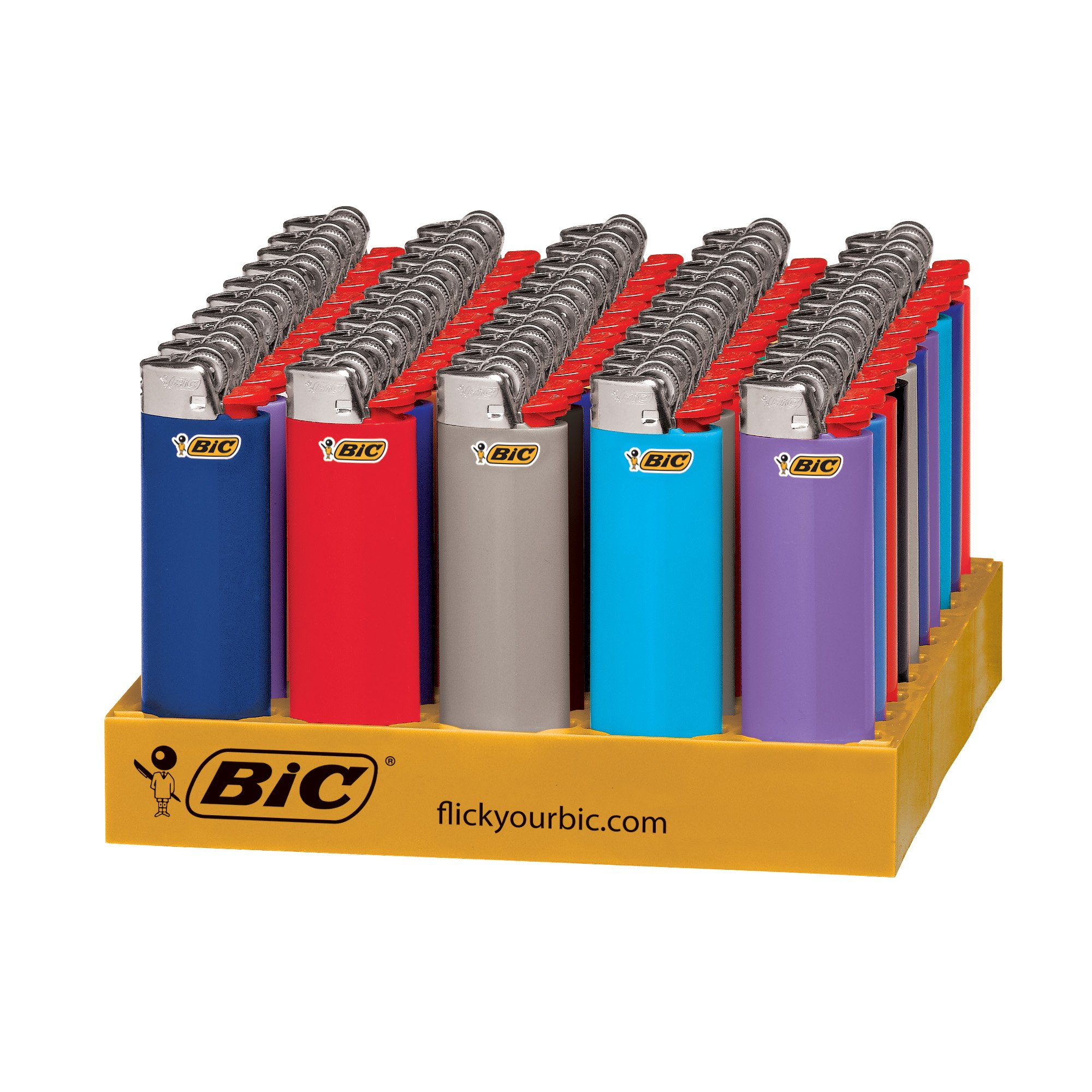 BIC Classic Lighter, Assorted Colors, 50-Count Tray by BIC