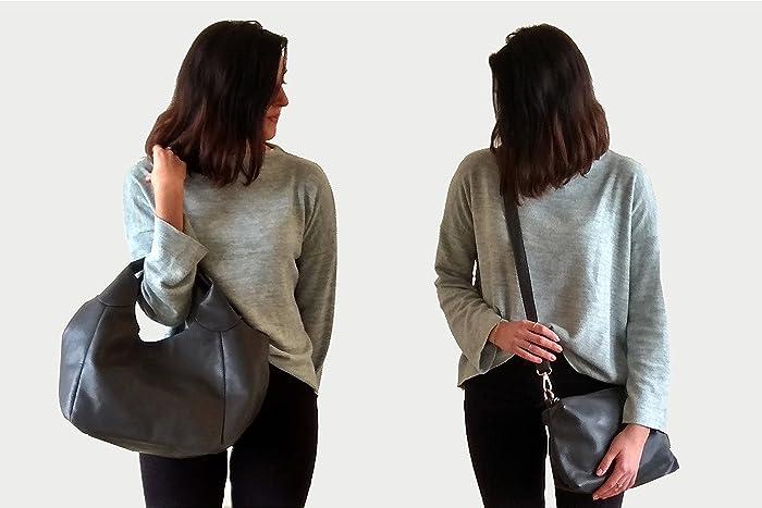 a122d1a585 Amazon.com  Gray vegan hobo bag casual shoulder handbag casual handbag