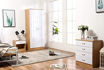 Harmin Ltd HIGH GLOSS 3 Piece Bedroom Furniture Set - Includes Soft Close  Wardrobe, 4 Drawer Chest & Bedside Cabinet (White on Oak)