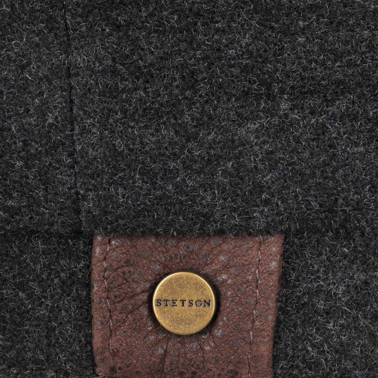 Made in The EU Berretto Newsboy Coppola Cappellino con Visiera Stetson Hatteras Noir Donna//Uomo Fodera Autunno//Inverno