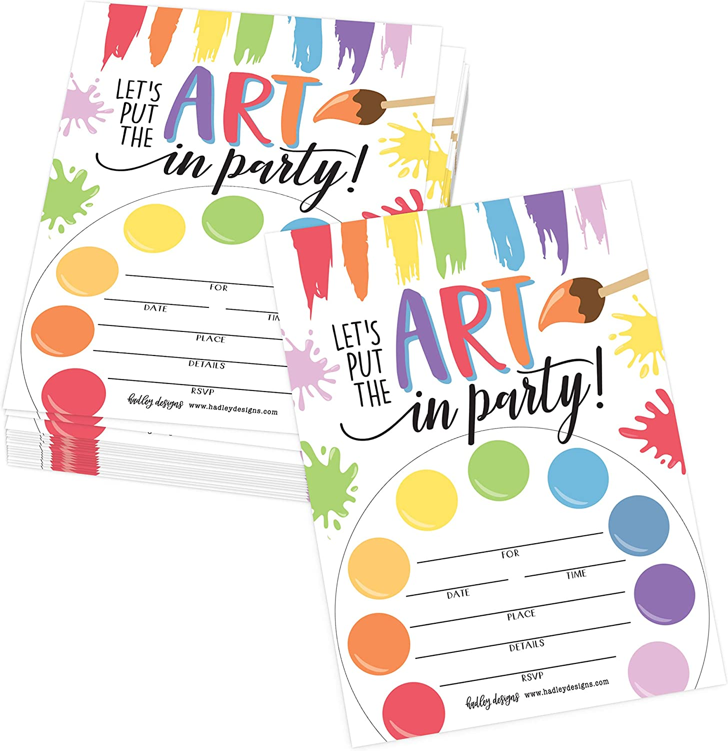 Amazon Com 25 Art Rainbow Paint Splatter Color Palette Kids Birthday Party Invitations Bright Colorful Painting Craft Themed Bday Invite Ideas Creative Artist Girls Boys Adult Supplies Printable Template Health Personal Care