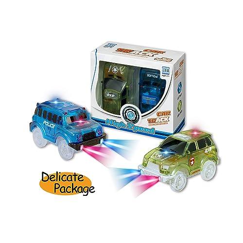 Voiture de course (lot de 2) Light Up Track Voiture de course jouet, 5lampes LED Véhicules Jeep militaire et voitures de police Compatible avec la plupart des pistes, Magic Car vous de créer pour gar&ccedi