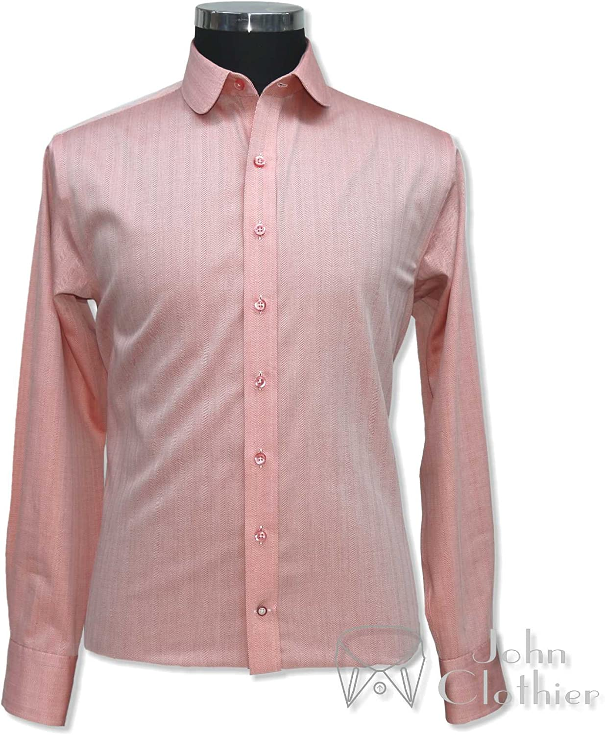 WhitePilotShirts Round Collar for Peaky Binders Mens Shirt Orange Herringbone 100/% Cotton Penny Collar Gents 100-28