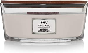 WoodWick Ellipse Scented Candle with Crackling Wick   Warm Wool   Up to 50 Hours Burn Time Paraffin, Warm Wool