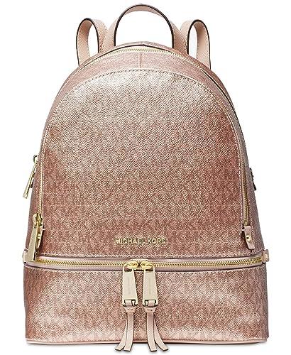 de3e301b0a27 Amazon.com  Michael Kors Metallic Signature Rhea Zip Backpack