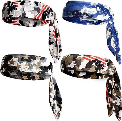 Ladies Womens Girls Mens Boy 3 Pack Camouflage Stretch Elastic Headband Bandeaux