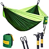 MorLee Single&Double Camping Hammock with Tree Straps, Max 500 lbs Capacity, Portable Parachute Nylon Hammock for Outdoor Backpacking, Garden,Beach,Hiking,Travel