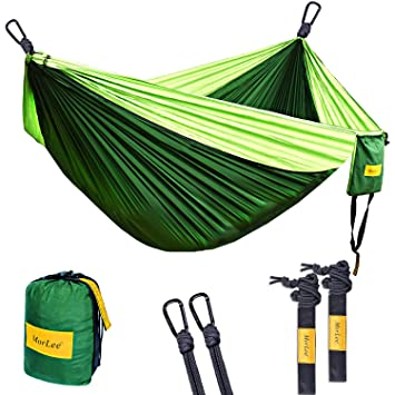 morlee single u0026double camping hammock with tree straps max 500 lbs capacity portable parachute nylon amazon    morlee single u0026double camping hammock with tree straps      rh   amazon